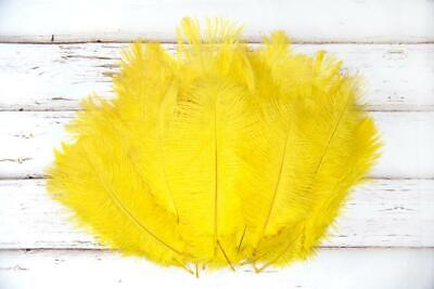 Small Bright Yellow Fluffy Ostrich Feathers