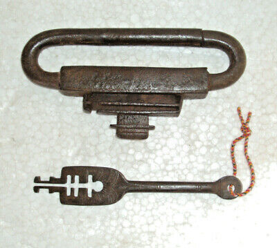 Vintage solid Iron Very Unique Hand Made padlock with key Rich patina lock 05