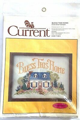 1983 Current Inc., Bless This Home 9X12 Printed Cross Stitch Sampler kit NOS