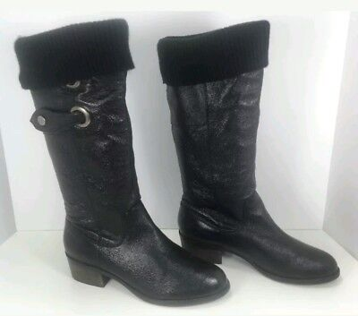7099acde9f4a Steve Madden Wmn sz 8.5 P Source Riding Boots Black Leather Fold Over Knit  Cuff