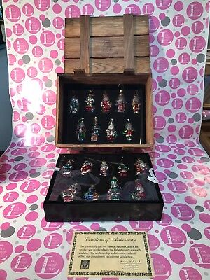 Thomas Pacconi Classics Set of 18 Blown Glass Santa Ornaments In Wood Crate 2001