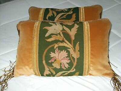 Set Of 2 Pillows Created From Antique Aubusson Valance On Gold Velvet