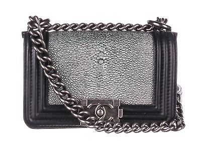 3363e8f072c3b CHANEL Black Leather Galuchat Boy Flap Crossbody Bag
