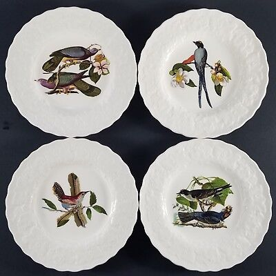 "(4) Alfred Meakin White Audubon Birds of America Bread Plates 6"",  England"