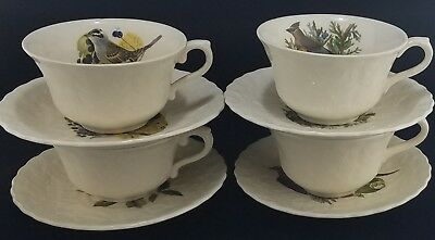 (4) Alfred Meakin WHITE Audubon BIRDS OF AMERICA Cups and Saucers, Eng