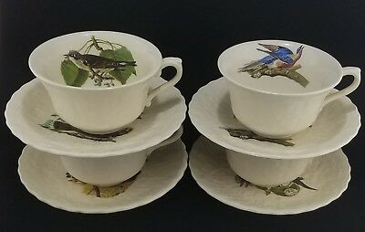 (4) Alfred Meakin White Audubon BIRDS OF AMERICA Cups and Saucers  Eng.