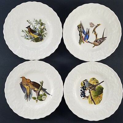"(4) Alfred Meakin White Audubon Birds of America Bread Plates 6"",  Eng."