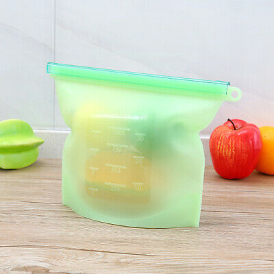 1pc 1000ml Fresh Bags Reusable Silicone Vacuum Sealed Bag for Fruit Soup Storage