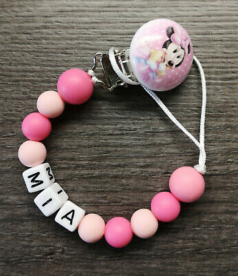 PERSONALISED Minnie Mouse Clip DUMMY CLIP PINK silicone beads GIRL name gift UK