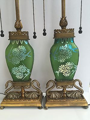 Pair Of Steuben Green Jade Acid Etched Art Glass Lamps w/ Swan Base