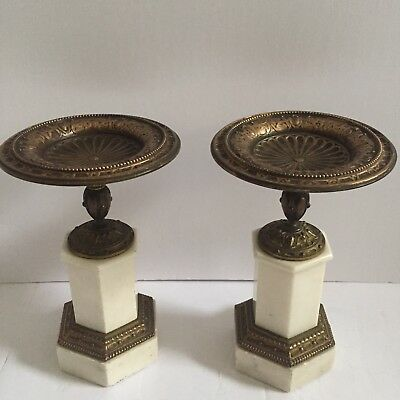 Pair Of Antique Grand Tour Marble And Bronze Tazzas 19th C. 8 .5""