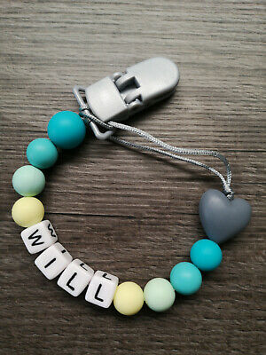 PERSONALISED Dummy CLIP Dummy HOLDER silicone heart green baby BOY GIRL UK