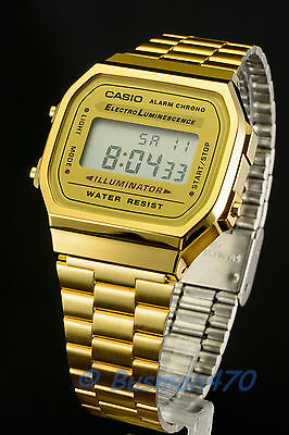 CASIO Men's Digital Retro 80s Vintage Gold A-168WG-9 Watch 100% Original NIB !