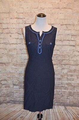 6d24b62b Modcloth Great Declarations sheath Dress NWOT S Navy faux pockets missing  belt