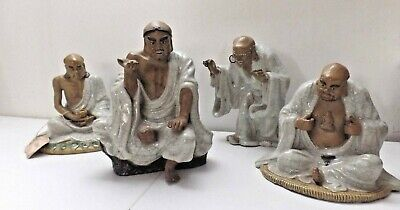 Antique Chinese spherical Celadon Glazed Statue 4 figurines