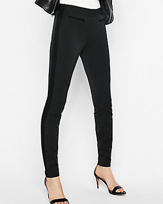 d1e40338338f4c New Express Women Mid Rise Stripe Stretch Ankle Leggings Size Small S 4-6
