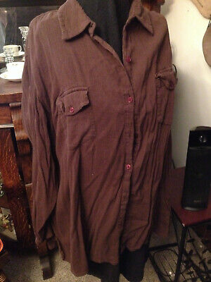 Women's Vintage White Stag Blouse Brown Light Linen Fabric Button Up Sleeves