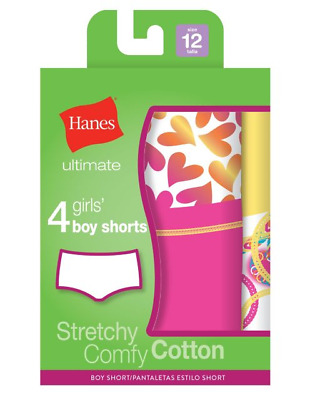 Hanes Ultimate™ TAGLESS® Cotton Stretch Girls' Boy Shorts 4-Pack GUCSP4