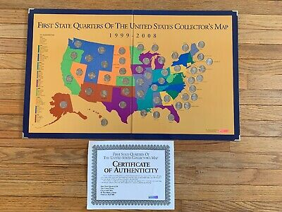 1999-2008 First State Quarters of the US Collector's Map - Complete With Cert