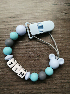 PERSONALISED Dummy Clip + MICKEY MOUSE silicone beads + BLUE baby Boy Gift UK