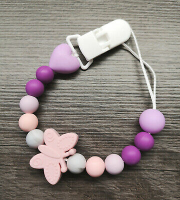 Silicone Dummy Clip + BUTTERFLY + Pink Purple Baby GIRL teether baby GIFT UK