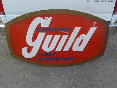 Vintage 1940's - 1950's Guild Certified Fleet Tire Retreading Double Sided Sign