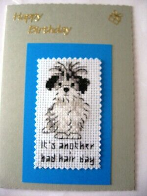 Birthday Card Completed Cross Stitch Bad Hair Day Puppy 7x5""
