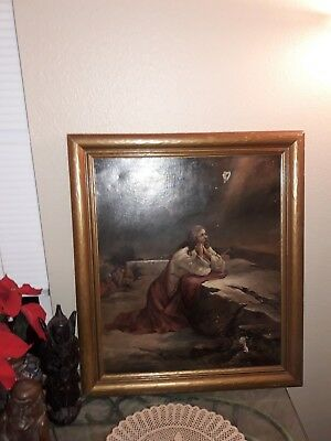 """Antique """"Jesus,"""" Painting, Signed, Oil On Canvas Circa  19Th Early 20Th Cent."""