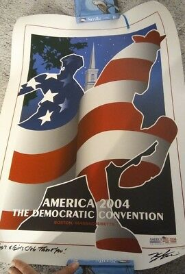 Signed By Artist, America 2004 The Democratic Convention Poster