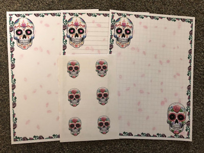 New* Sugar Skull Stationery - 25 Sheet Letter Writing Paper & 6 Stickers Set