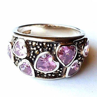 (SIZE 7,8) PINK TOPAZ HEARTS RING Wide Band Marcasite .925 STERLING SILVER