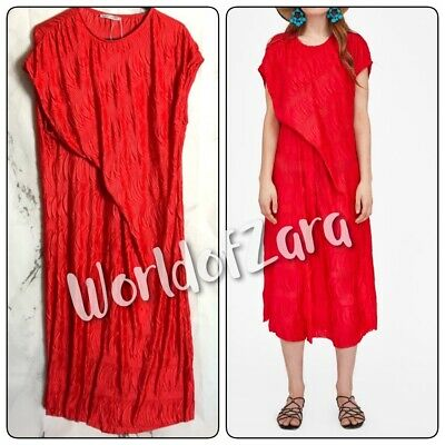 3e2a3a56 Zara Woman Red Round Neck Pleated And Creased Draped Side Midi Dress  5039/010