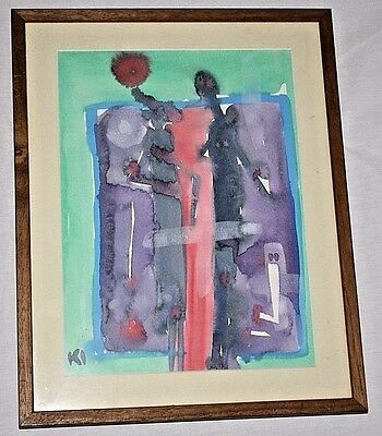 Original Klaus Ihlenfeld Abstract Watercolor Painting Signed & Framed