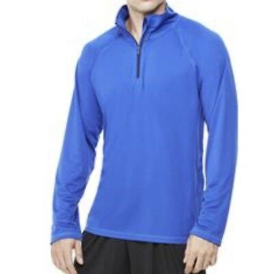cab4a5490230 ALO Yoga Men s Athletic Jacket Pullover 1 4 Zip Solid Blue Lightweight Sz  Large