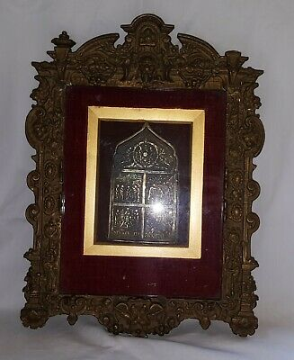 Russian wood frame vintage Victorian antique bronze religious icon picture