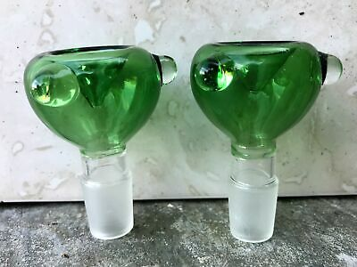 Colored Green Glass Slide Herb Bowl 18MM Male Three Notch (2 Pack)