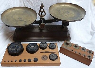 French 1880 Iron FORCE 5 KILOG Balance Scale with Pans and Weights