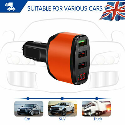 Car Cigarette Socket Lighter Fast Charger Power Adapter 3USB for iPhone Samsung