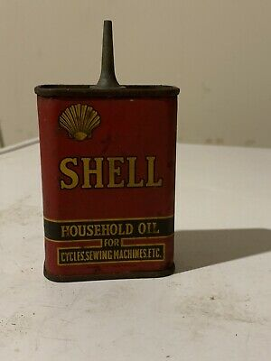 VINTAGE LED TOP SHELL OIL Co HOUSEHOLD HANDY CAN TIN OILER ,CAR,CYCLES,MACHINES