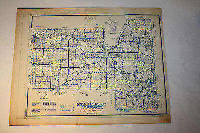 1951 Fond du Lac County - Vintage State Highway Commission of Wisconsin Map