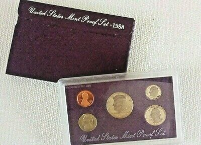 1988 S United States Proof Coin Set in US Mint Packaging with Spec Card 5 coins