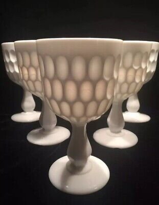 LOT 6 Goblet Fenton Milk Glass Thumbprint Patern Water Wine RARE Antique Hobnail