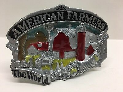 Vintage 1980's Metal Belt Buckle AMERICAN FARMERS FEED THE WORLD - USA made