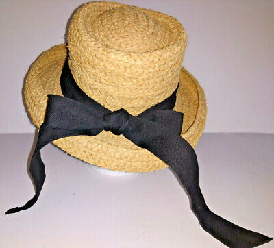 3c9b212cc9ddf THE SCALA COLLECTION HAT Womens Rolled Brim Sun Straw Black Band With Bow  Size M