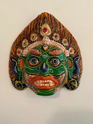 Small Paper / Clay Mache Mahakala Mask, Hand Craved, Nepal