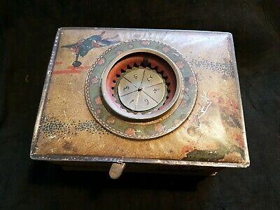 Antique Victorian Edwardian Metal Tin Deck Card Box Painted with Spinner