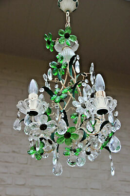 French Crystal glass green daisy flower chandelier pendant attr maison bagues