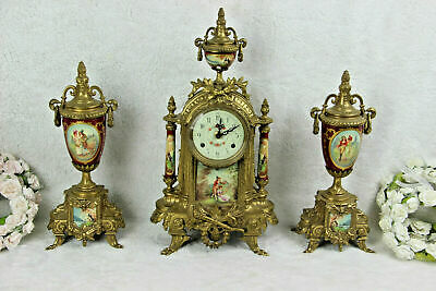 French porcelain Burgundy red romantic victorian Clock set vases