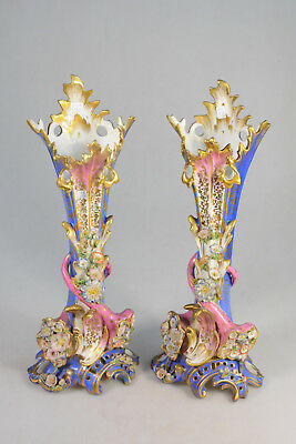 PAIR Antique french porcelain Vieux paris Vases floral attr Jacob petit top