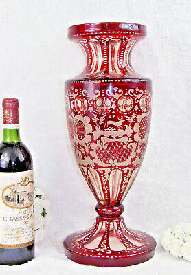 Huge Bohemian Czech crystall art glass etched Hunting dog deer ruby red vase